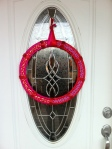 This is the hanging wreath. It is 18 inches wide.